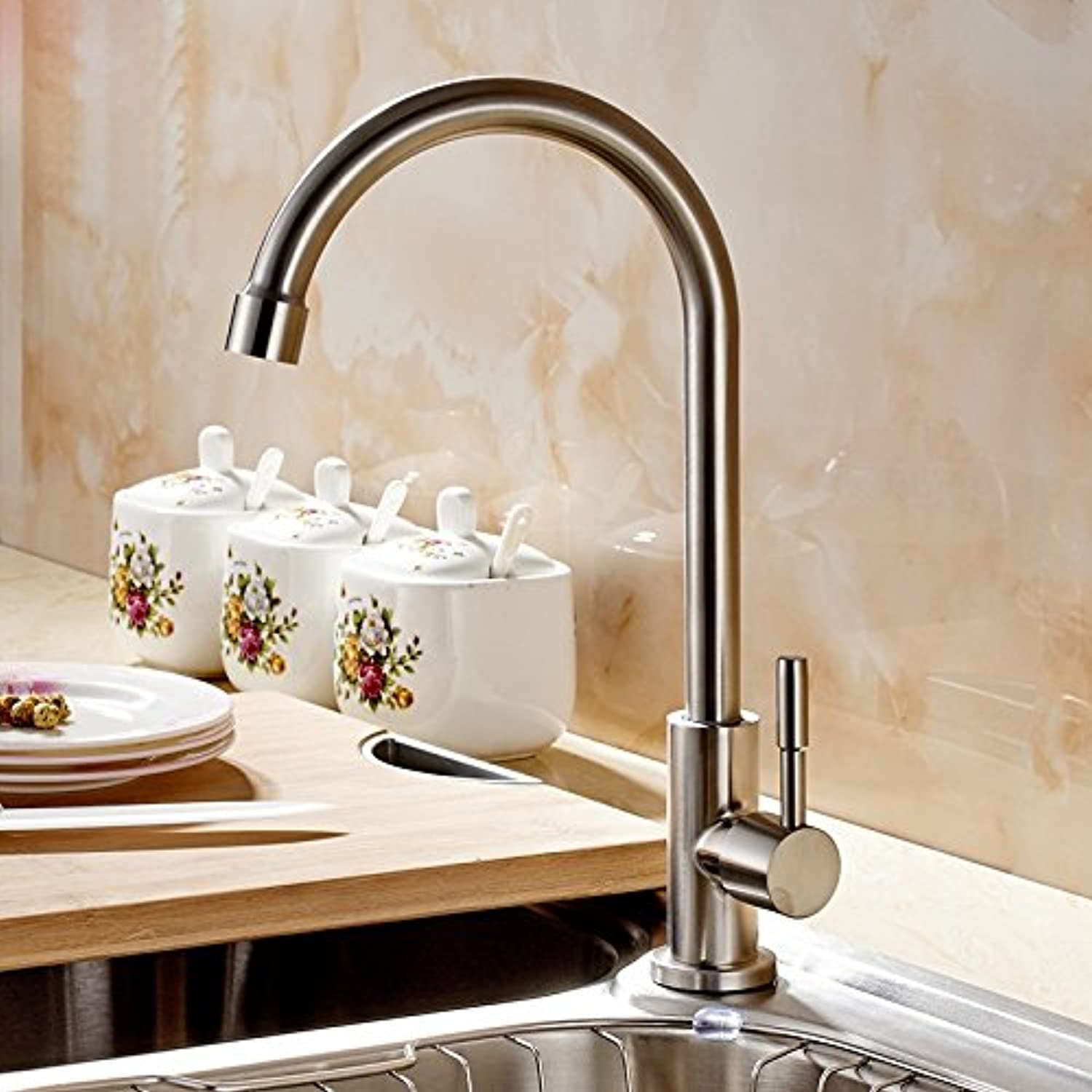 Commercial Single Lever Pull Down Kitchen Sink Faucet Brass Constructed Polished 304 Stainless Steel Kitchen Single Cold Faucet, Sink Bowl, Pool, redating Sink Faucet