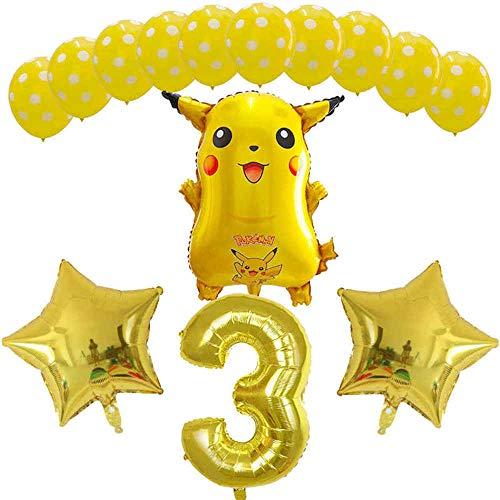 Yuanou 14 Piezas Pikachu Jenny Turtle Foil Balloons número Globo aerostático Decoraciones para Fiestas de cumpleaños Niños Baby Shower Bolas