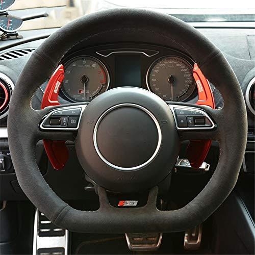 LUOERPI Cubierta del Volante del Coche Negro Alcantara, para Audi S3 2014-2017 S5 2012-2016