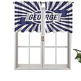 Hiiiman Cortinas opacas cortas, con bolsillo para barra, con nombre en inglés antiguo en el fondo radial, juego de 2, cenefas pequeñas de media ventana de 106,7 x 60,9 cm para dormitorio