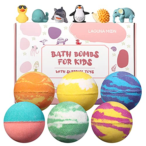 Lagunamoon Bath Bombs for Kids with Toys Inside for Boys Girls , 6 Pcs Kids Bath Bombs,Natural Color Scent, Safe for All Skin Types, Bath Bombs with Surprise Toy for Birthday Christmas Holiday Gifts