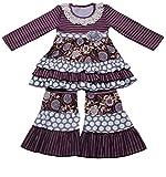 Yawoo Haan - Conjunto de pantalones de vestir con volantes para niñas y niños, 2 unidades - morado - 4 años