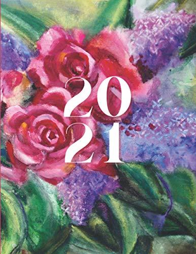 Agenda 2021 Flores: Planificador con Versículos Bíblicos para Mujer (Agenda Planificador con Días Feriados de Puerto Rico)