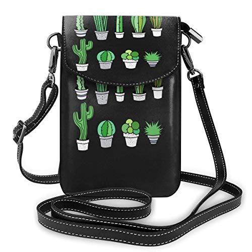 Hdadwy Cactus Sukkulente Zimmerpflanzen Cacti Desert Garden Kreditkartenfächer Kleine Umhängetaschen Handy Geldbörse Geldbörse für Frauen