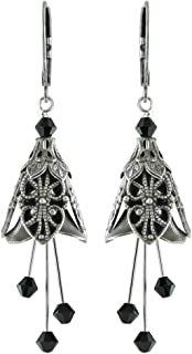 NoMonet Hand Painted Flower Fairy Earrings -Renaissance in Silver and Black