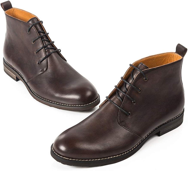Qiusa Lace up Polierte Lackstiefel für Herren Durable Non Slip Comfort Stiefel (Farbe   Schwarz, Größe   EU 39)