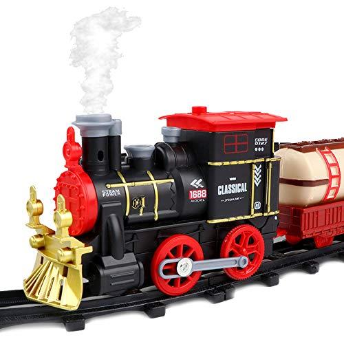 ZDSKSH Juguetes de Tren eléctrico Juego de Tren de Vapor para niños Christmas Train Set con Humo, Sonidos y Luces...