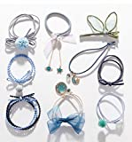 Angels Choices 9 pieces Starry Sky & Love Elastic Stylish hair ties, Ponytail Holder bands, hair ropes with 1 3D clip for Women, Girls Head Wear Styling Tool, Hair Accessories Set(Fantasy/Blue)