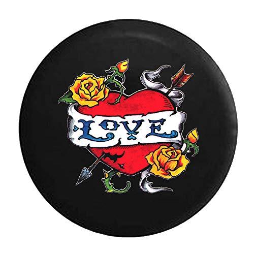 N / A Reserveradhülle,Universal Reifentaschen,Reserveradabdeckung,Hardy Love Tattoo Style Herz Rosen Pfeil Und Dornen Reifen Cover Black,80-83Cm