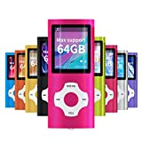 Mymahdi Reproductor portátil MP3 / MP4, Rosa con Pantalla de 1,8 Pulgadas de LCD y Ranura para Tarjetas Memory Card, Tarjeta de 128GB Memory Card TF de Apoyo máximo