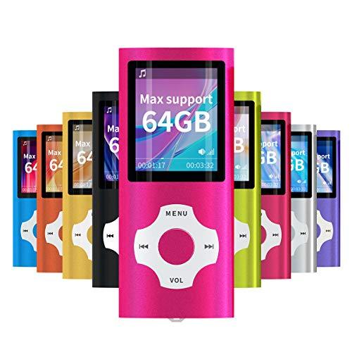 Mymahdi Lettore portatile MP3   MP4 di, dentellare con lo schermo dell affissione a cristalli liquidi da 1.8 pollici e la fessura per carta di memory card, supporto massimo di memory card TF di 128GB