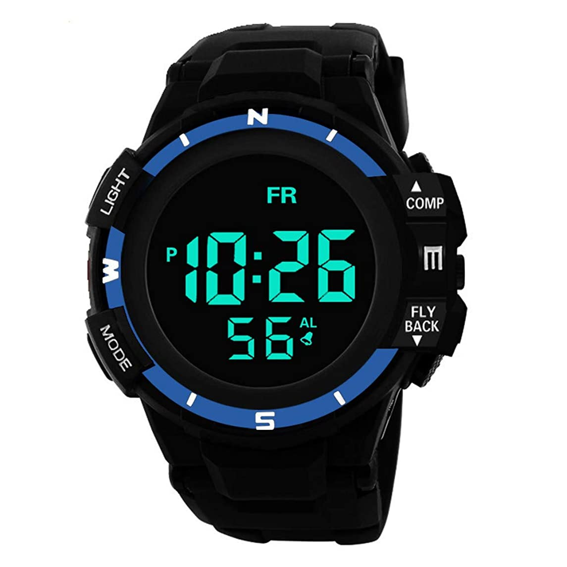 Mens Watches Clearance,Analog Digital Military Sport LED Waterproof Wrist Watch(Blue)
