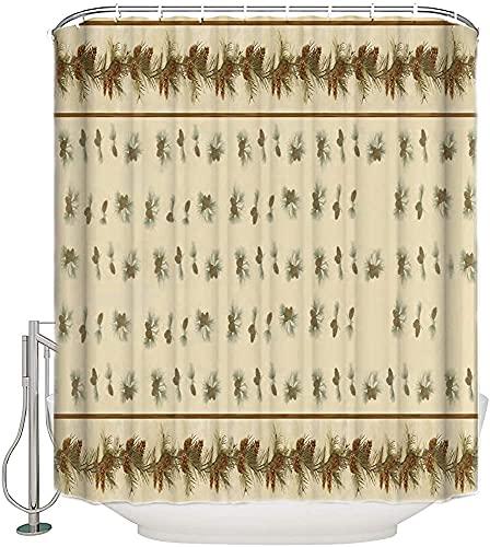 ZXYAIAN Cortina de ducha con forma de cono de pino de Navidad con hojas de guirnalda, cortina de baño, tela decorativa, impermeable, juego de cortinas de baño con ganchos, tamaño largo, 150 x 78 cm