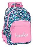 safta Mochila Escolar de Benetton Blooming, 320x150x420mm, rosa/multicolor, M (M773)