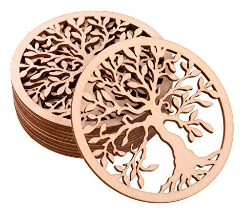 ProArts Untersetzer Birkenholz Set von 10 Holz Korkuntersetzer Gläser für Getränke Kaffee-Tee-Untersetzer Tischsets Coaster Wiederverwendbar 10 Stück 10x10cm (Tree of Life)