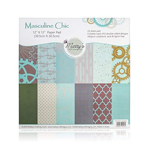 Matty's Crafting Joy Masculine Chic - 12x12 Double Sided Turquoise Scrapbook Paper Pad