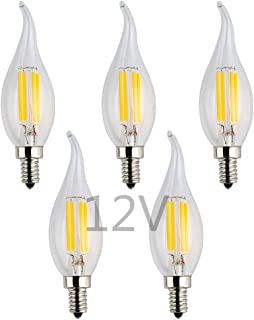 OPALRAY Low Voltage 12V LED Candelabra Bulb, 12V DC or 12V AC, 4W Dimmable, 2700K Warm White Light, E12 Small Base, 40W Incandescent Replacement, 12Volt DC Operated, Clear Glass Flame Tip, 5-Pack