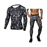 ENKA Camo Men's Thermal Underwear Sets Winter Gear Base Layer Long Johns; Tops+Pants(Black,M)