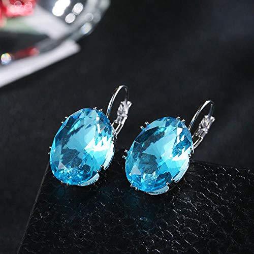 Pendientes para Mujer Gota de Agua Plata Joyería de Moda Cristal Ovalado Piedra Grande Rombo Pendiente de Gota Día de San ValentínAzul Marino