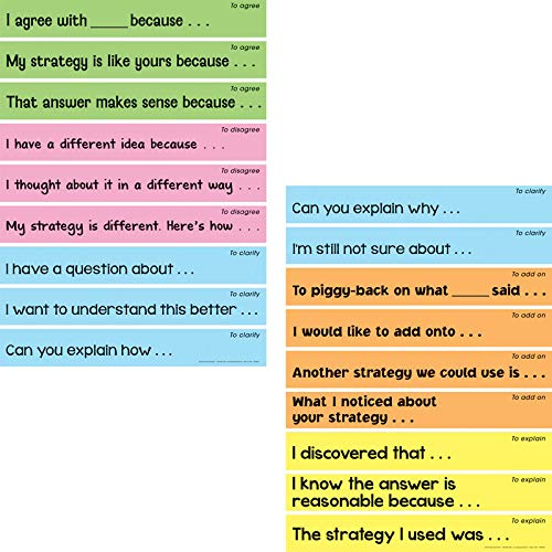 "Really Good Stuff Math Talk Sentence Stems Display – Set of 18, 19"" by 2' Laminated Strips – Help Students Develop Language to Agree, Disagree, Clarify, Explain, and Add On to Class Math Discussions"