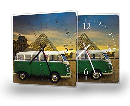 Printalio - Vintage Bus - Lautlose Wanduhr mit Fotodruck auf Polycarbonat   geräuschlos kein Ticken Fotouhr Bilderuhr Motivuhr Küchenuhr modern hochwertig Quarz   30 cm x 30 cm mit weißen Zeigern - G