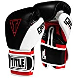 Title Boxing Gel E-Series Boxing Gloves, Black/White/Red, Small