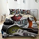 Juego de funda nórdica beige, pila de guitarras eléctricas de colores gráficos, instrumentos de cuerda de música rock, juego de cama decorativo de 3 piezas con 2 fundas de almohada, fácil cuidado, ant