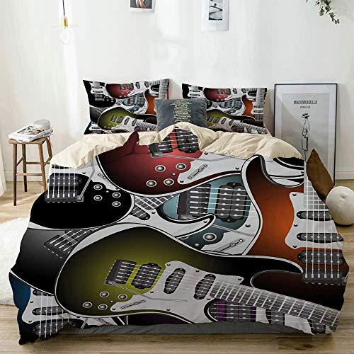 Qoqon Juego de Funda nórdica Beige, Pila de gráficas Coloridas Guitarras eléctricas...