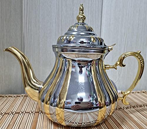 TETERA MARROQUI - 1200 ml tetera árabe realizada en Acero Inoxidable Tetera Inducción con Filtro Integrado (DORADO-1.2)