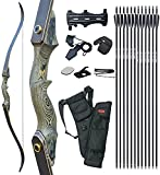 D&Q 60'' Archery Recurve Bow and Arrow 60'' Takedown Bow for Adults Wooden Riser Right Hand Hunting Survival Bow 20-60lbs Archery Set with 12pcs Fiberglass Arrows (50lbs)
