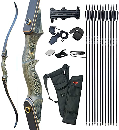 D&Q 60'' Archery Recurve Bow and Arrow 60'' Takedown Bow for Adults Wooden Riser Right Hand Hunting...
