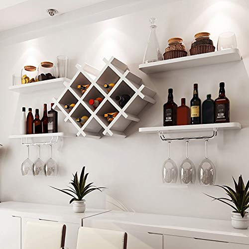 Portabottiglie da Vino in Legno Grande 8 Bottiglie Portabottiglie da Parete per Vino da Parete Porta Bicchiere Cucina 2 Tiers Mensola Portaoggetti, MTX Ltd, bianca