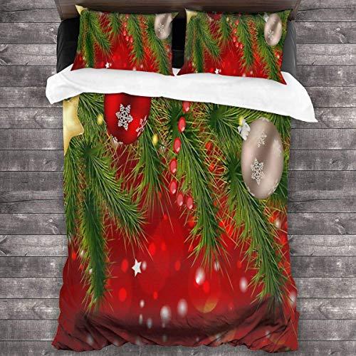 Butlerame Decorazioni Natalizie Set di Lenzuola Rosse per Albero di Natale Set di Lenzuola Traspiranti Resistenti alle Macchie Copriletto Microfibra Ultra Morbida