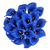 Houda Calla Lily Bridal Wedding Artificial Fake Flowers Party Decor Bouquet PU Real Touch Flower 10PCS (Royal Blue)