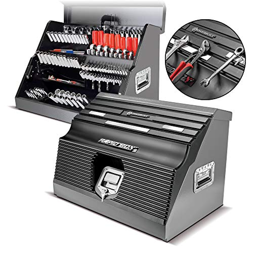 Powerbuilt 26 Inch Rapid Box Slant Front Toolbox with Tool Magnets - Gray - 240102