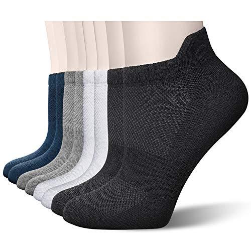 Okany 8 Pairs Mens Trainer Socks Ladies Cotton Running Socks Low Cut Sports Socks for Men and Women Ankle Athletic Socks