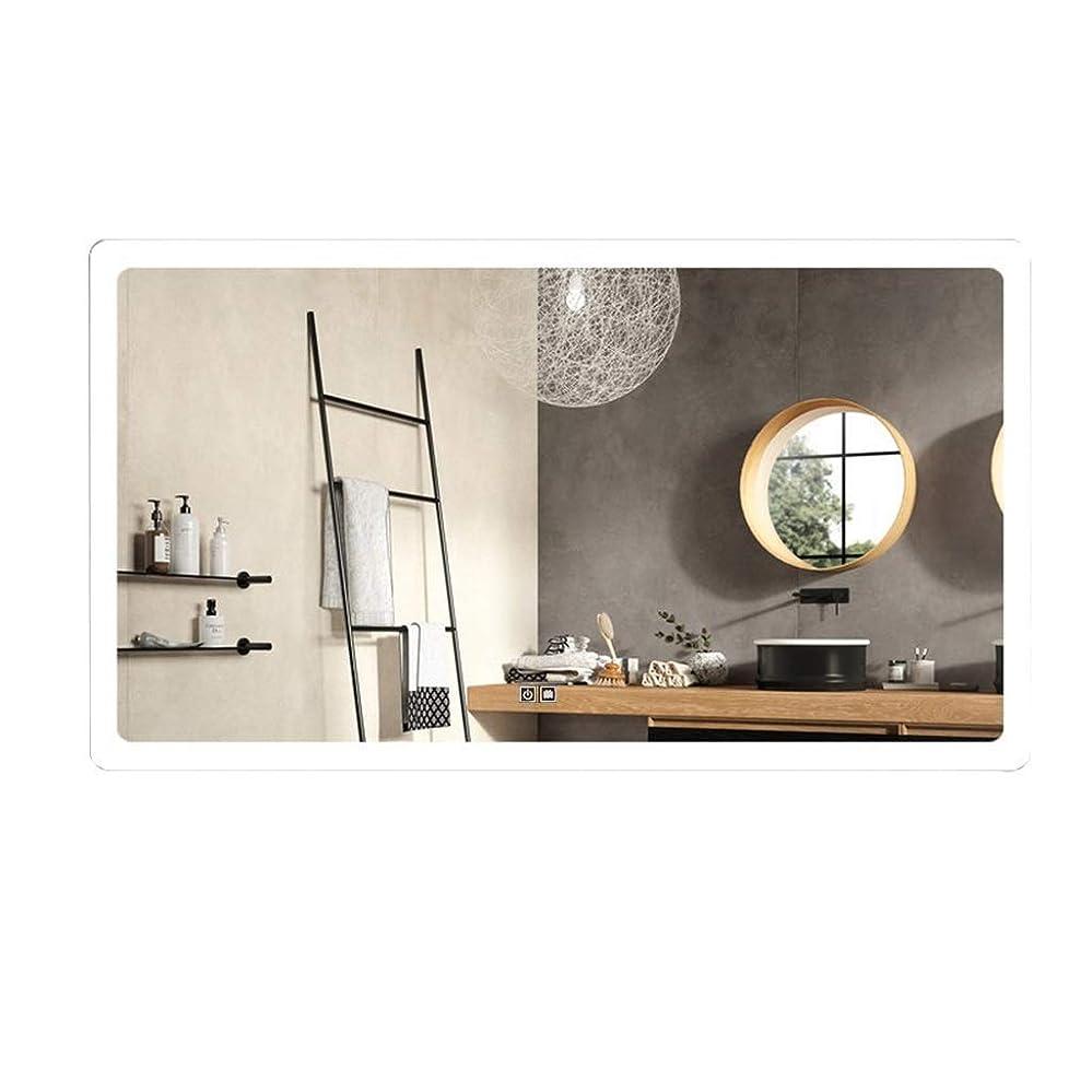 氏蒸気会う化粧鏡ミラー壁フレームレスLEDミラー長方形の壁照明バスルームミラードレッシングルーム用タッチスクリーンスイッチ付き(色:暖かい光、サイズ:60CMx90CM)