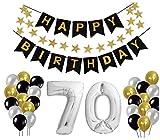 E.For.U Decorazioni Compleanno 70 Anni, Palloncini Compleanno 70 Anni Argento, Happy Birthday 70 - Nero Striscione di Happy Birthday + XXL Grande Pallone 70 in Argento + Lattice Ballon