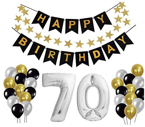 Geburtstag Dekoration Set, Deko Geburtstag, Geburtstagsdeko, Happy Birthday Dekoration. Zahlen Luftballons Silber XXL + 24 Große Geperlte Ballons + 1 Happy Birthday Banner (70)