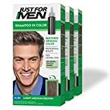 Just For Men Shampoo-In Color (Formerly Original Formula), Gray Hair Coloring for Men - Light-Medium Brown, H-30, Pack of 3 (Packaging May Vary)