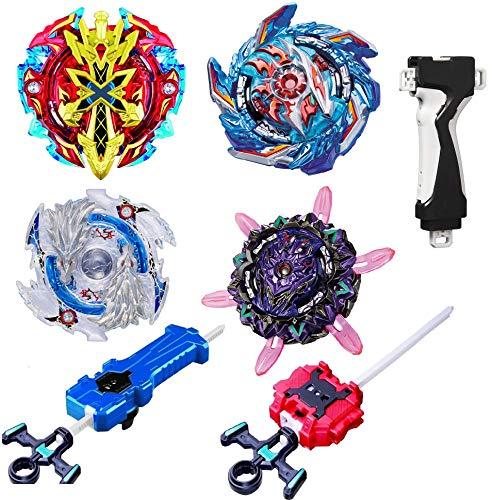 teraut 4 Pcs Gyros Bey Battle Set, Burst Battling Tops, Stickers & Launchers Set, Kids Boys Birthday Christmas Party Gift Idea