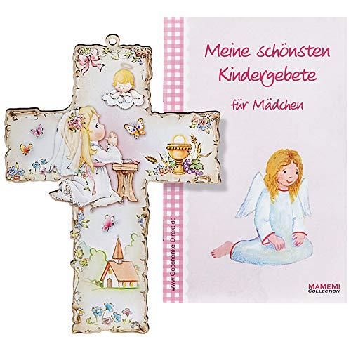 Taufkreuz Kinder-Kreuz Kinderzimmer Mädel betend mit Schutzengel
