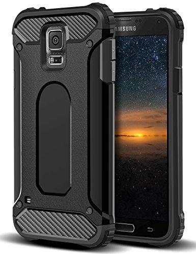 Coolden Samsung Galaxy S5 Hülle, Premium [Armor Serie] Outdoor Stoßfest Handyhülle Silikon TPU + PC Bumper Cover Doppelschichter Schutz Hülle für Samsung Galaxy S5 (Schwarz)