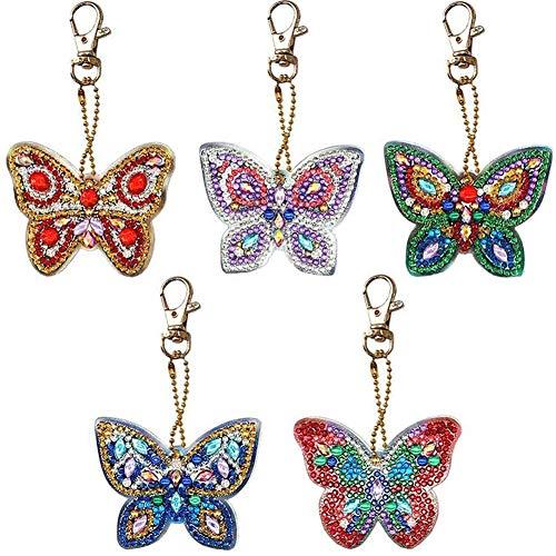 YUESEN 5D Diamant Schlüsselanhänger 5PCS Diamond Painting Stickerei Kinder DIY Schmetterling Frauen mädchen Tasche geldbörse Handtasche Charms anhänger