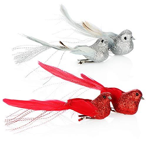 com-four® 4X Christbaumschmuck Deko Vogel - Vögel mit Federschwanz für Weihnachtsbaum-Deko - Kunststoff Vögel mit Clip für Weihnachten - 14,5 cm