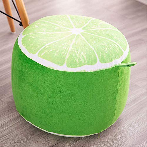 WEIZI Cute & Funny Inflatable Stool Sofa Home Decoration Portable Chair Long Plush Air-filled Comfort Seat Footstool & Shoes Carrying Stool Footstool + Free Inflatable Pump (Lemon)