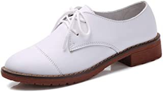 Bonrise Women's Casual Flat Low Heel Oxfords Shoes Wingtip Vintage Lace-up Classic Dress Oxford Brogues White