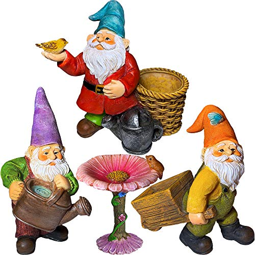 "Miniature Gardening Gnomes Set of 4 pcs - 3,5"" H Garden Gnome Figurines & Accessories - Kit for Outdoor or House Decor"