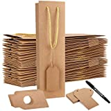 HawHawToys Paper Wine Bags, 20 Pack 3.75 x 3.5 x 13.75 Inches Wine Gift Bag, Brown Wine Bags, Kraft Wine Gift Bags with Handles for Bottles Packaging
