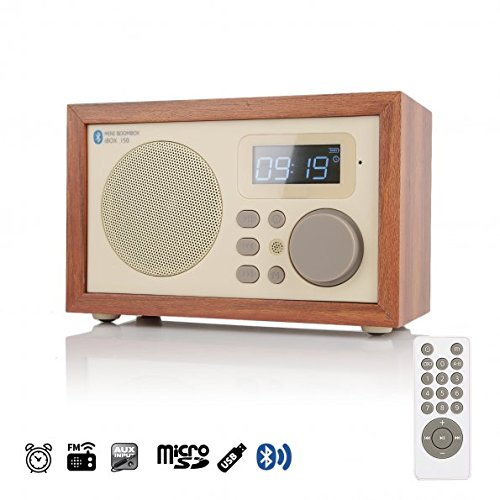 InstaBox i50 Madera Digital Multifuncional Altavoz con Bluetooth FM Radio Despertador MP3 Player Supports Micro SD/TF Tarjeta y USB con Control Remoto